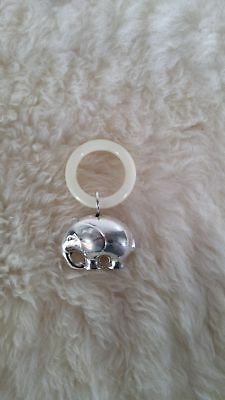 Elephant Baby Rattle in Silver