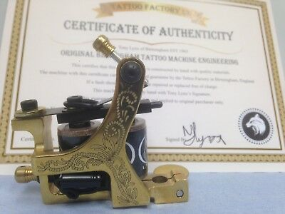 Tony Lynx Tattoo machine Certificate.Engraved & Signed.Collectors Ltd Edition.
