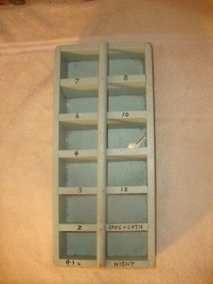 Antique Wood Hotel Room Key Holder Old Painted Pine Depression Green Paint OLD!