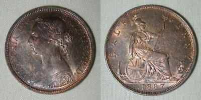 Nicely Toned 1887 Bronze Coin Great Britain Half Penny Queen Victoria AU++