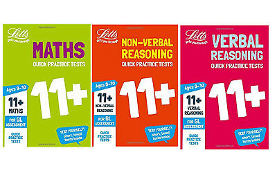 Letts 11+ Plus 9-10 Years Quick Practice Tests 3 Books Maths Verbal Non Reasonin
