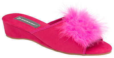 Ladies Womens Wedge Slippers Pom Pom Fur Boa Feather Faux Suede Mule