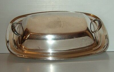 Covered Two Piece Shiny Silver On Copper  Vegetable Server
