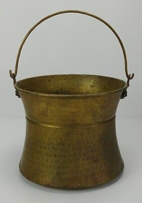 Vintage Hammered Brass Bucket Pail Primitive Collectible Lion Head - Hourglass
