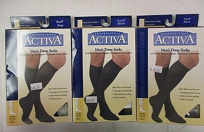 3 ACTIVA MEN'S DRESS SOCKS 15-20 mmHg SUPPORT - SMALL NAVY & BLACK - EW 6619J