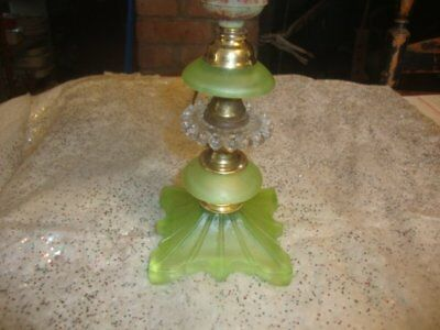 Vintage Art Deco Small Lamp Boudoir Frosted Green Depression Glass Lamp &Shade