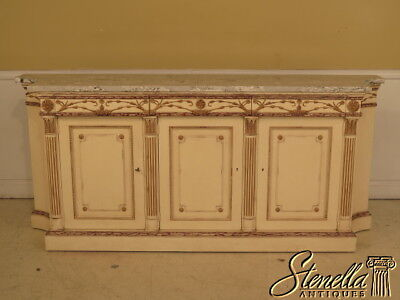 26581E: EJ VICTOR Paint Decorated Marble Top Sideboard