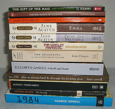 Lot of 12 Classics/Literature Books~Many Reading List Titles~Scarlet Letter~More