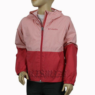 "New Girls Columbia ""Wooster Bluff"" Waterproof Reflective Hooded Rain Jacket"