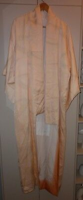 Vintage Japanese Shell Pink Silk Brocade Kimono Great Condition