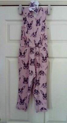 Next Girls 2-3 Years Pink And Grey Bunny Jumpsuit and new hairslides