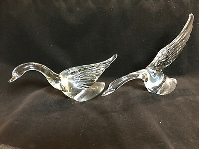 Heisey Clear Elegant Glass Pair Of Geese - Unmarked: 1940's