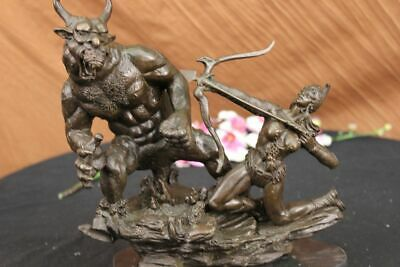 Art Deco Mythical Attacking Amazon Female Bronze Sculpture Marble Base Statue NR