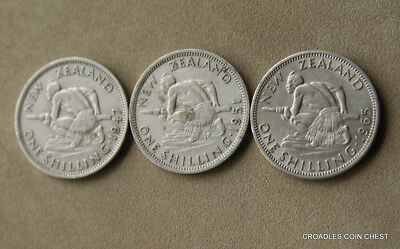 Group Of 3 New Zealand Shillings Circulated Predecimal Coins   #vco30