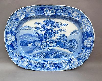 """Early 19thC Pearlware MEAT PLATE / 16"""" Platter ~ Piping Shepherd / Blue & White"""