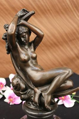 Huge Sale DIANA RECLINING ON A MOON BRONZE SCULPTURE ON MARBLE BASE FIGURINE DB