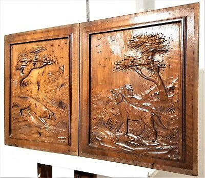 Pair Hand Carved Wood Panel Vintage French Hunting Scene Salvaged Panelling