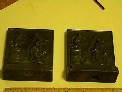 """Pair of Antique Book Ends """"THE ALTAR OF LOVE"""""""