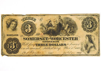 1862 $3 Somerset & Worcester Savings Bank - Salisbury, Maryland