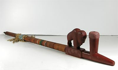 1970s NATIVE AMERICAN PLAINS INDIAN BUFFALO EFFIGY CARVED CATLINITE PIPE w/ STEM
