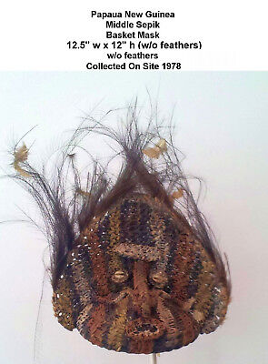 VINTAGE PNG Middle Sepik Woven Rattan Painted Mask w/Feathers