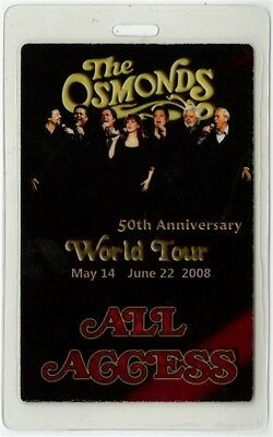 The Osmonds authentic 2008 concert tour Laminated Backstage Pass Donny Marie AA