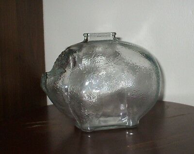 Glass Pig by Anchor Hocking - Piggy Bank with top slot