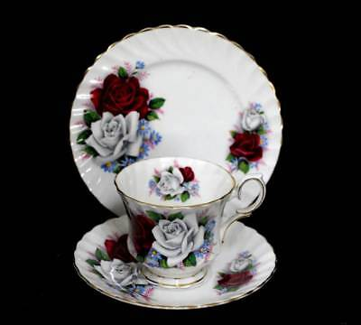 Vintage Queen Anne Duet white & red roses teacup trio set in lovely condition