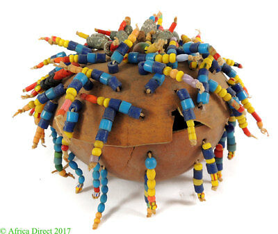 Fon Box Lidded Cosmetic Beads and Seashells African Art