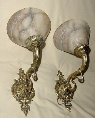 ANTIQUE PAIR BRONZE CHISELLED SWAN BIRD FIGURES WALL SCONCES w/ ALABASTER SHADES