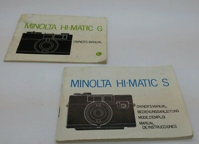 Original MINOLT HI-MATATIC S & HI-MATIC G film cameras Instruction Manual