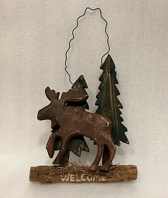 American Expedition Wood Moose Welcome Sign 4288 Picclick