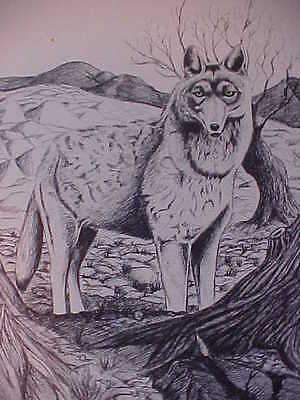 WOLF Picture, Signed Lithograph Sketching by Gary Fiscus, 18/500