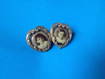 Ancienne Broche Duo Porte-Photo en Plaqué Or / Antique Picture Frame Brooch