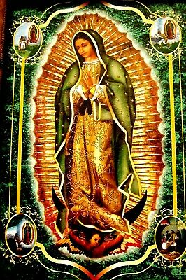 """Virgen Guadalupe Wood Framed Print Poster Painting Religious Mexico 17""""X13"""" Lg!"""