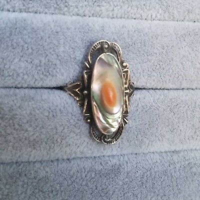 Antique Art Deco Sterling Silver Blister Pearl Ring