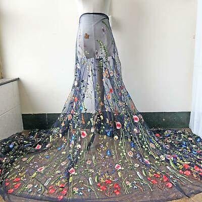 Alice Navy Tulle Lace Fabric Material Embroidered Flower Gauze DIY Dress Gown 1Y