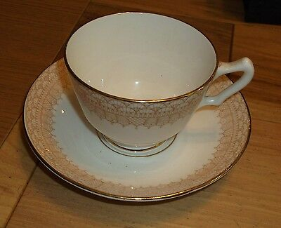 English England Cup And Saucer Bone China Crown Staffordshire Gold Design