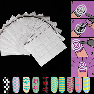 12 Sheets French Manicure Nail Art Tips Form Fringe Guides Sticker Stencil DIY
