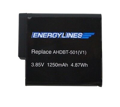 Battery Battery for GoPro Hero 5, ahdbt-501 3,85v 1250mAh by energylines NEW