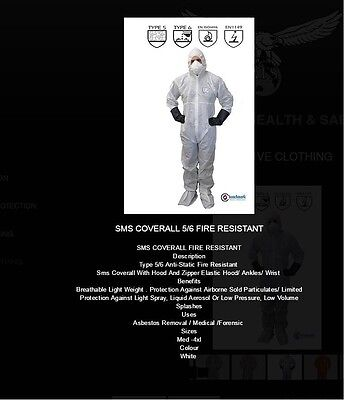 50 Pairs Of Sms Fabric Asbestos Rated Suit Disposable Coverall White Type 5 & 6