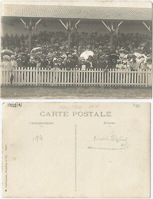 CPA PHOTO Gaston Duffard sport foule crowd MESTRO Hippodrome AGEN 47 [1201 R]