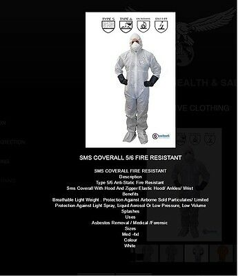 5 Pairs Of Sms Fabric Asbestos Rated Suit Disposable Coverall White Type 5 & 6