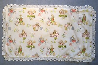 Vintage Beatrix Potter Baby's or Child's Pillow Case - White + Characters + Lace