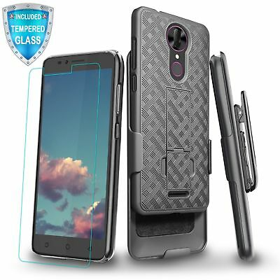 For T-Mobile Revvl Plus Kickstand Case Holster Belt Clip Cover w/ Tempered Glass
