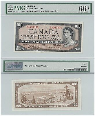 CANADA ∙ 100 DOLLARS ∙ 1954 ∙ BC-43b ∙ GEM UNCIRCULATED PMG 66 EPQ