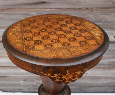 Victorian Walnut and Tunbridge Ware Trumpet Shaped Games /Sewing Table