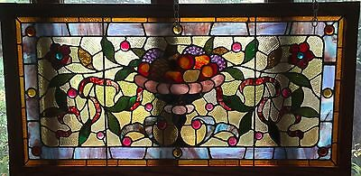 19th century fruit bowl stained glass window