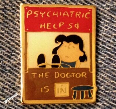 Lucy Lapel Pin~Psychiatric Help 5 cents~Peanuts~vintage~United Feature Syndicate