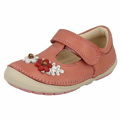 Infant Girls Clarks First Walking Hook & Loop Leather Shoes Softly Blossom